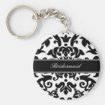 Black white & grey damask Wedding set Basic Round Button Key Ring