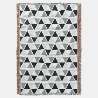 Black White Grey Geometric Pattern Throw Blanket