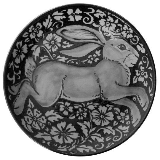 Black, White, Grey Rabbit Floral Porcelain Plate