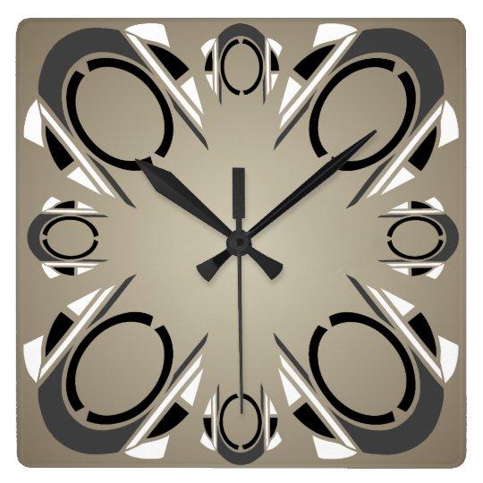 Black White Grey Sepia Art Deco Wall Clock
