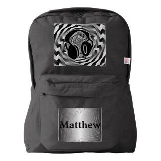 Black White & Grey Spiral Headphones Backpack