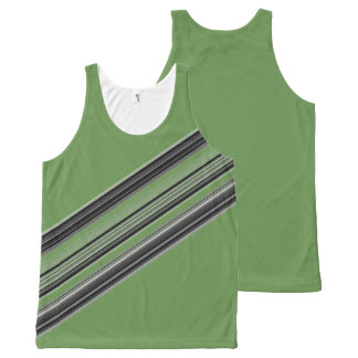 Black White Grey Striped Pattern All-Over Print Tank Top