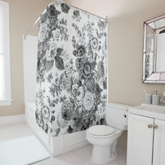 Black & White Grey Tone Vintage Floral Toile No.3 Shower Curtain