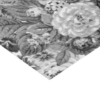 Black & White Grey Tone Vintage Floral Toile No.3 Tissue Paper