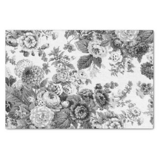 Black & White Grey Tone Vintage Floral Toile No.3 Tissue Paper