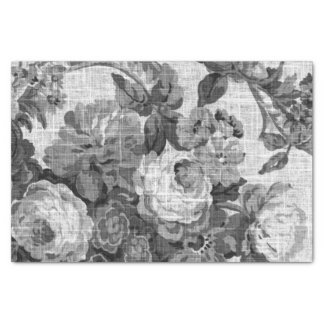 Black & White Grey Tone Vintage Floral Toile No.5 Tissue Paper