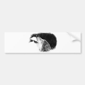 Black & White Grey Wolf Sketch Artwork Bumper Sticker