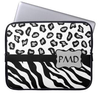 Black, White & Grey Zebra & Cheetah Skin Monogram Laptop Sleeve