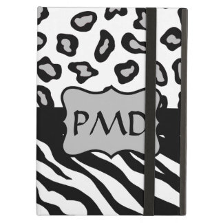 Black, White & Grey Zebra & Leopard Skin Monogram iPad Air Cover