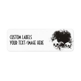 Black & White Grunge Skulls Illustration Return Address Label