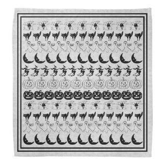 Black/White Halloween Fun Font Art Pattern Bandana