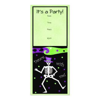 Black White Halloween Skeleton Bones Dance 10 Cm X 24 Cm Invitation Card