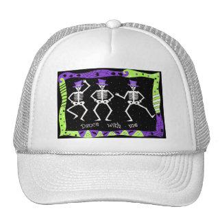 Black White Halloween Skeleton Bones Dance Cap