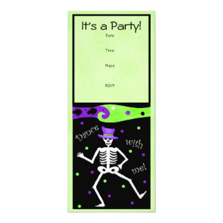Black White Halloween Skeleton Bones Dance Personalized Invitation
