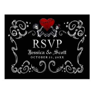 Black White Halloween Skeletons Heart Wedding RSVP Postcard