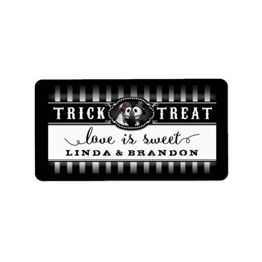 Black & White Halloween Wedding Name Love is Sweet Label