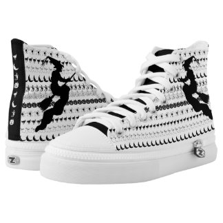 Black/White Halloween Witch Fun Font Art Pattern High Tops