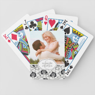 Black & White Hand Drawn Floral - Wedding Photo Bicycle Playing Cards
