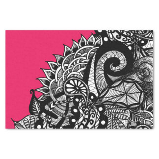 Black White Hand Drawn Tangle Floral Doodle Pink Tissue Paper