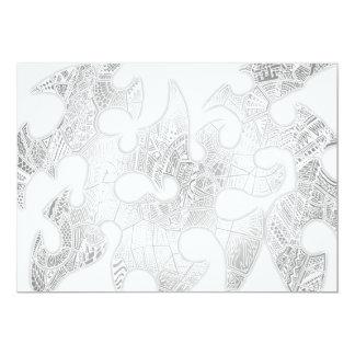 Black/White Hand-drawn Tribal Crazy Doodle 13 Cm X 18 Cm Invitation Card