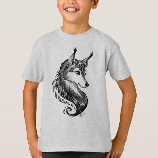 Black White Hand Drawn Wolf Boy's T-shirt
