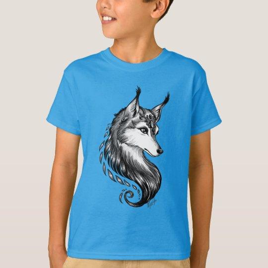 Black White Hand Drawn Wolf Kid's Classic Shirt