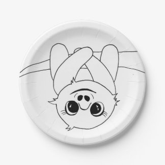 Black&white hanging sloth paper plate