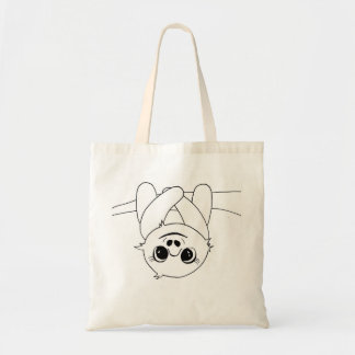Black&white hanging sloth tote bag
