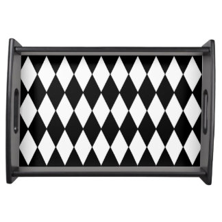 Black White Harlequin Pattern Serving Tray