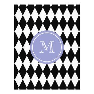 Black White Harlequin Pattern, Violet Monogram Custom Flyer