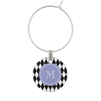 Black White Harlequin Pattern, Violet Monogram Wine Charm
