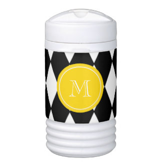 Black White Harlequin Pattern, Yellow Monogram Cooler