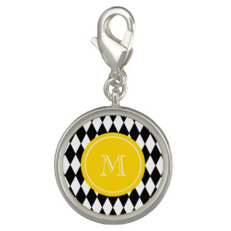 Black White Harlequin Pattern, Yellow Monogram Photo Charms