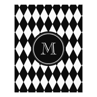 Black White Harlequin Pattern, Your Initial 21.5 Cm X 28 Cm Flyer
