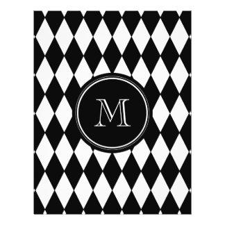 Black White Harlequin Pattern, Your Initial 21.5 Cm X 28 Cm Flyer