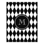 Black White Harlequin Pattern, Your Initial Full Colour Flyer