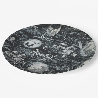 Black & White Haunted Halloween Paper Plates