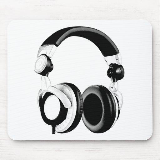 Black & White Headphone Artwork Mousepad