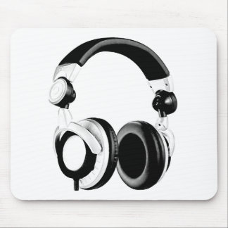 Black White Headphone Artwork Mousepad