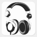 Black & White Headphone Artwork Square Stickers