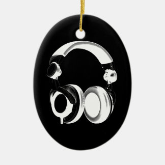 Black & White Headphone Silhouette Christmas Ornament