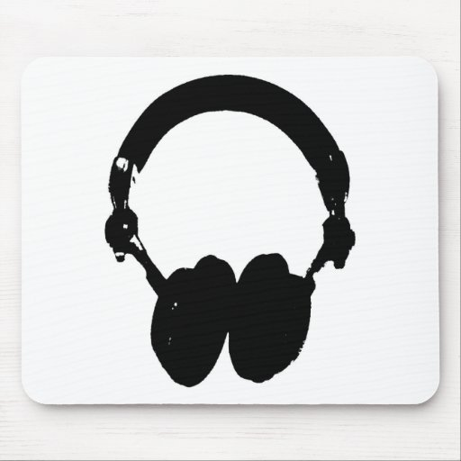 Black & White Headphone Silhouette Mousepads