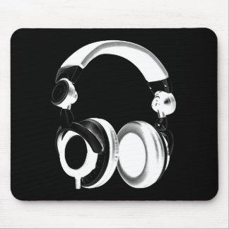 Black White Headphone Silhouette Mousepad