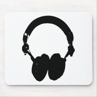 Black White Headphone Silhouette Mousepads