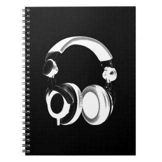 Black & White Headphone Silhouette Spiral Notebook