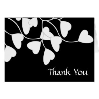 Black White Heart Thank You Card