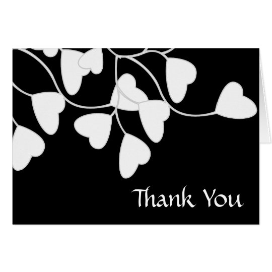 Black White Heart Thank You Card