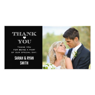 Black & White Heart Wedding Photo Thank You Cards Photo Card