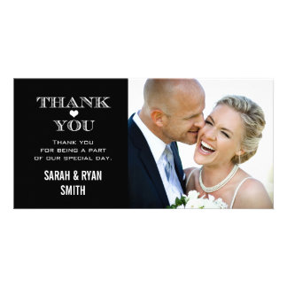 Black & White Heart Wedding Photo Thank You Cards Photo Card Template