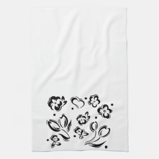Black & white hearts and flower dish towel